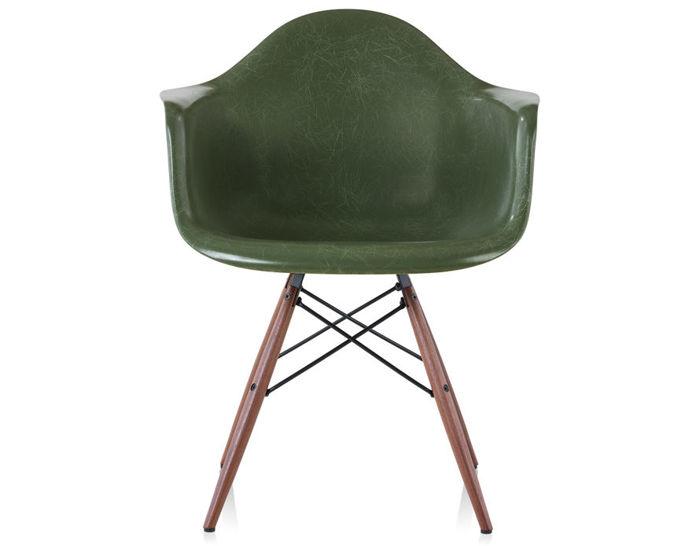 eames arm chair lounge metal legs molded fiberglass armchair with dowel base hivemodern com