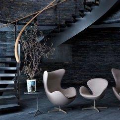 Modern Egg Chair Orange Accent Arne Jacobsen - Hivemodern.com
