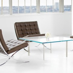 Barcelona Chair Leather 1 2 Glider Chrome Plated Hivemodern Com