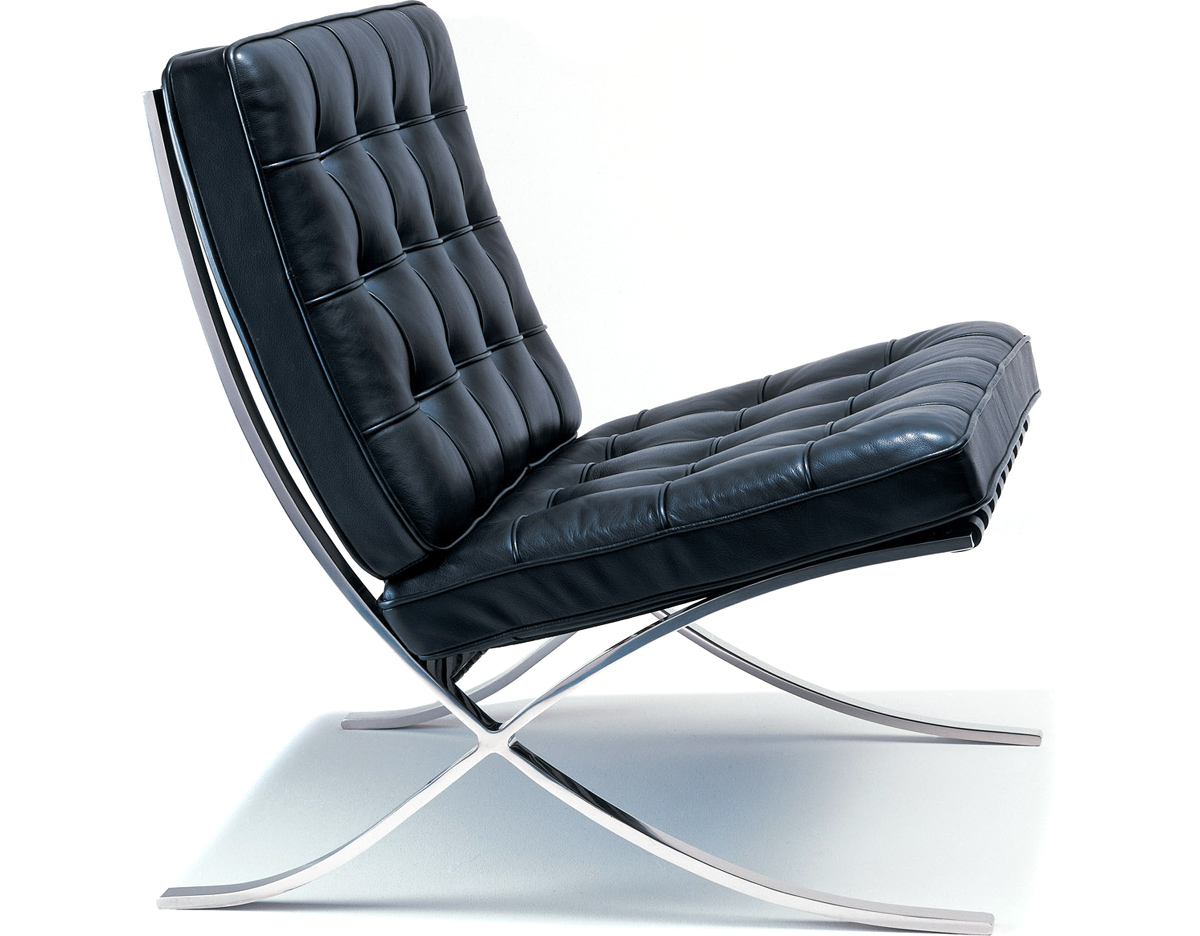 Barcelona Lounge Chair Barcelona Chair Hand Polished Stainless Hivemodern