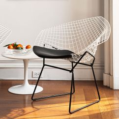 Bertoia Side Chair Small Leather Chairs For Spaces Diamond With Seat Cushion - Hivemodern.com