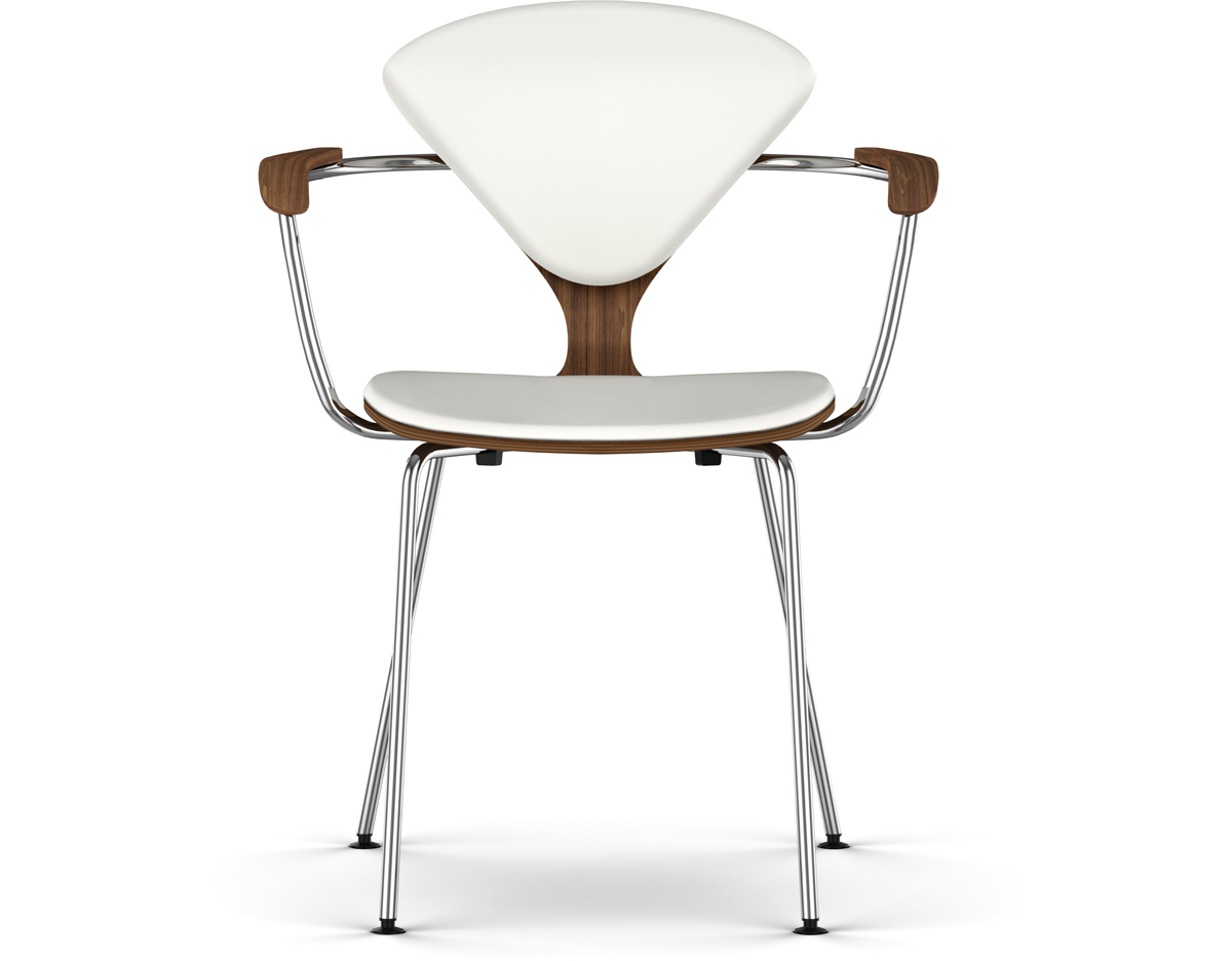 Cherner Metal Leg Arm Chair With Upholstered Seat  Back