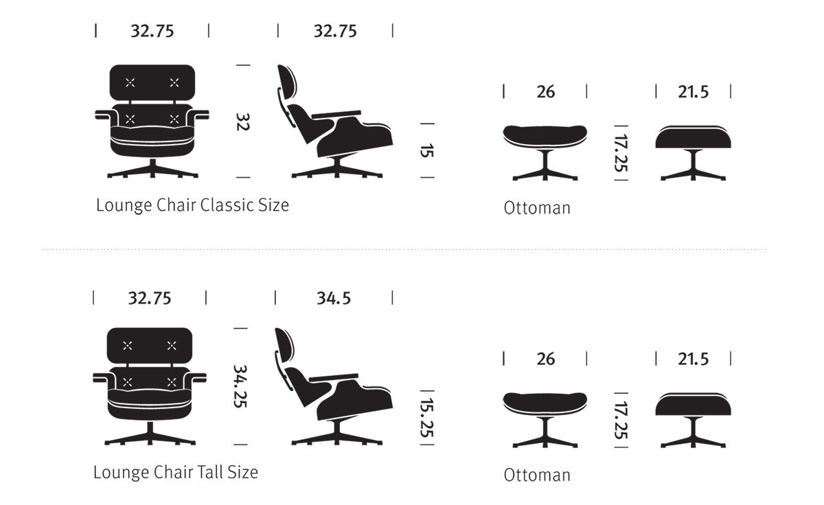 modern leather chair and ottoman wheelchair zinger ebony eames® lounge & - hivemodern.com