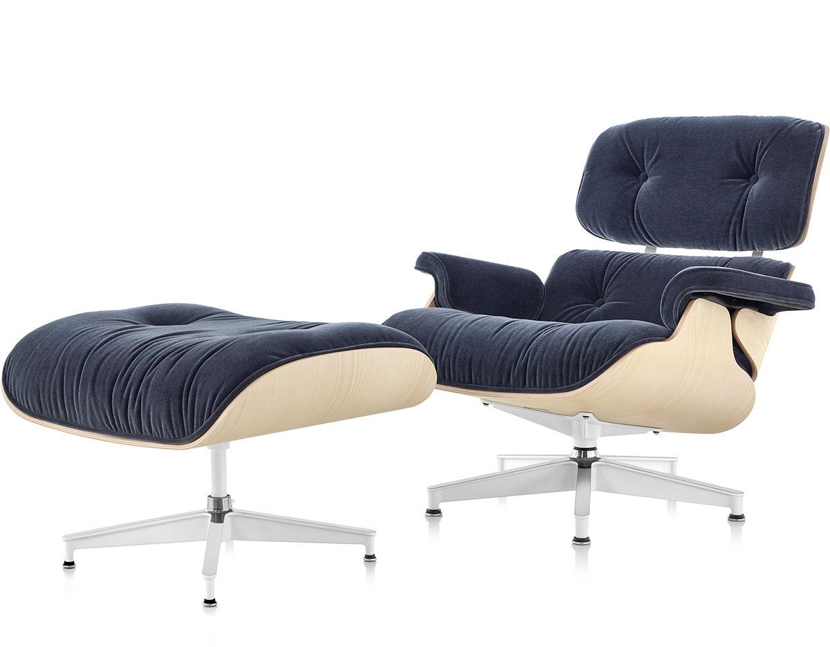 aluminum patio chairs childrens upholstered uk eames® lounge chair & ottoman in mohair supreme - hivemodern.com