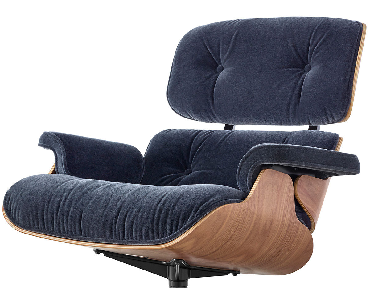 Eames Lounge Chair  Ottoman In Mohair Supreme
