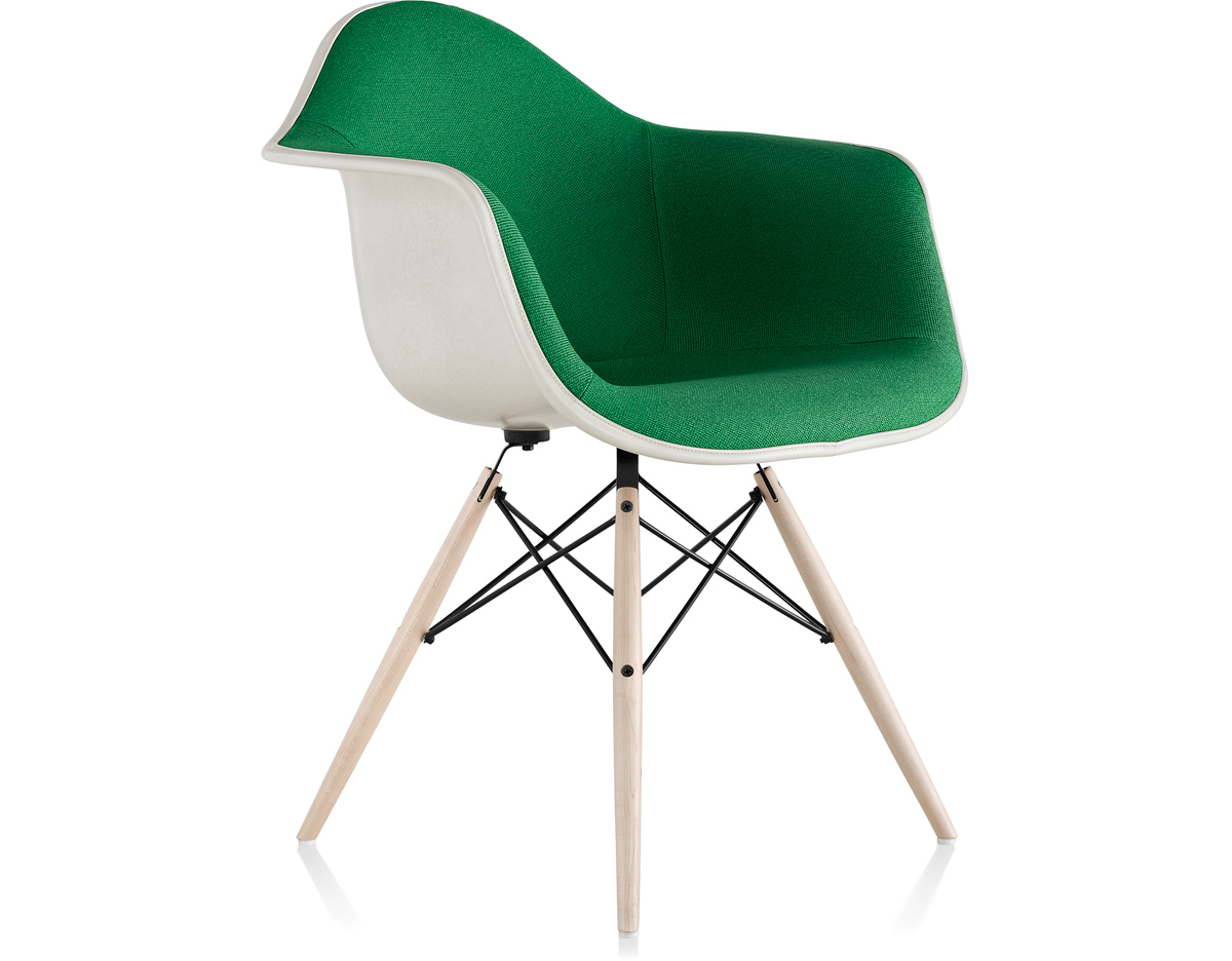 Green Upholstered Chair Eames Upholstered Armchair With Dowel Base