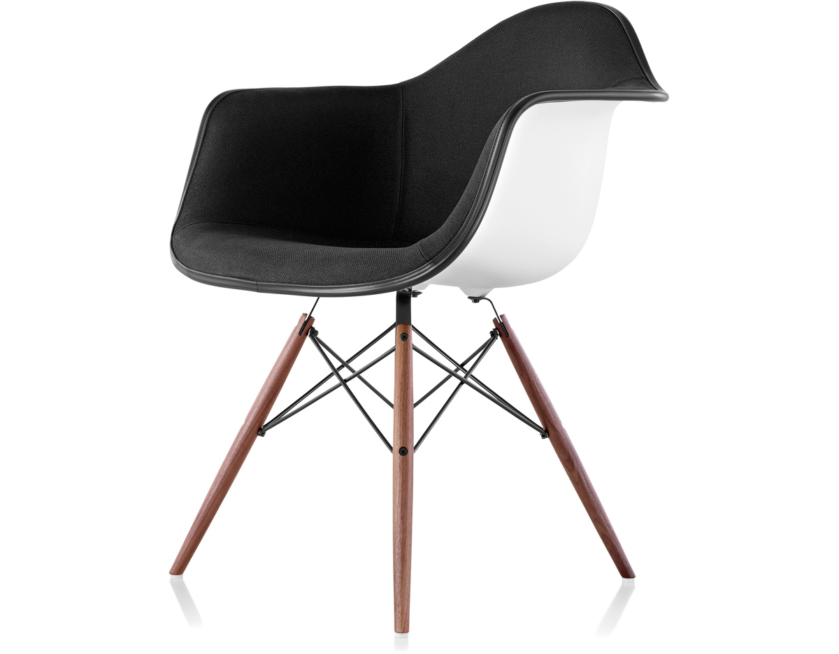 eames arm chair vintage rattan chairs upholstered armchair with dowel base hivemodern com