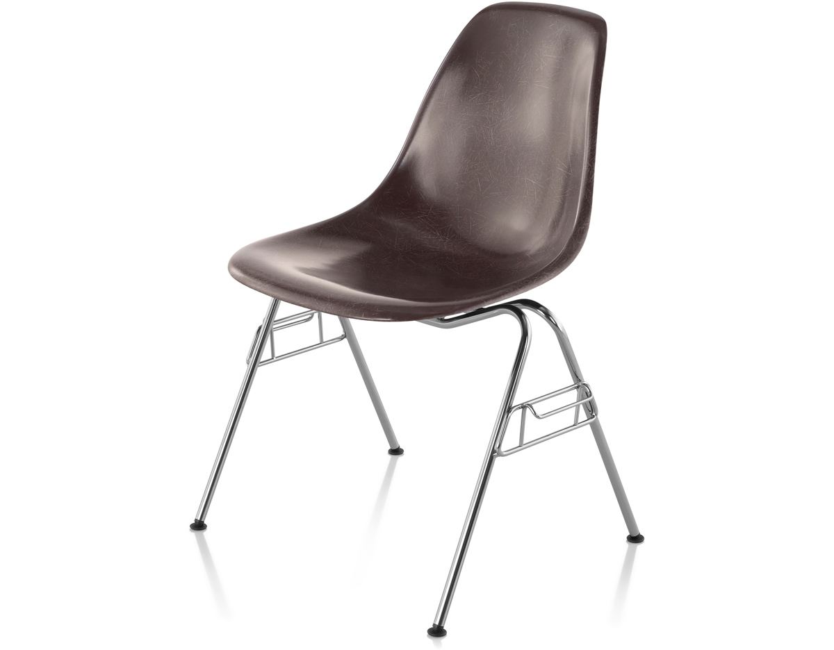 herman miller stacking chairs plastic toddler eames molded fiberglass side chair with base hivemodern com