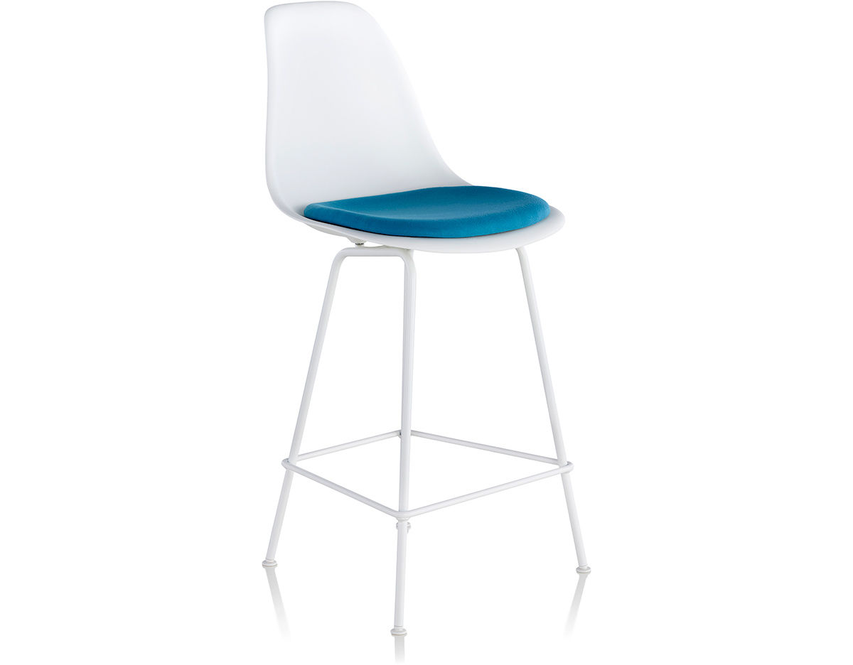 upholstered stacking chairs high for toddlers eames® molded plastic stool with seat pad - hivemodern.com