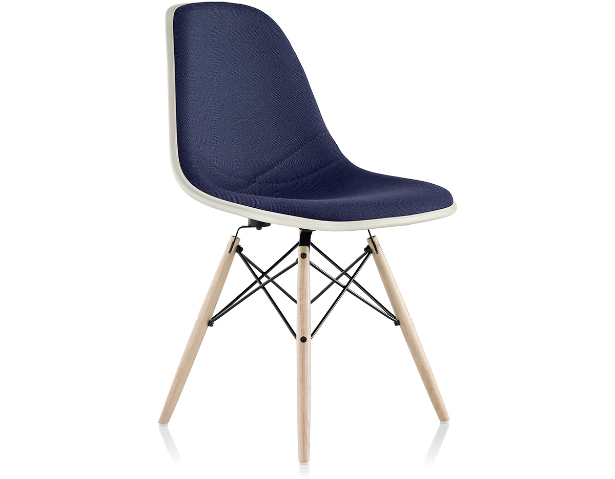 herman miller stacking chairs reconditioned office eames® upholstered side chair with dowel base - hivemodern.com