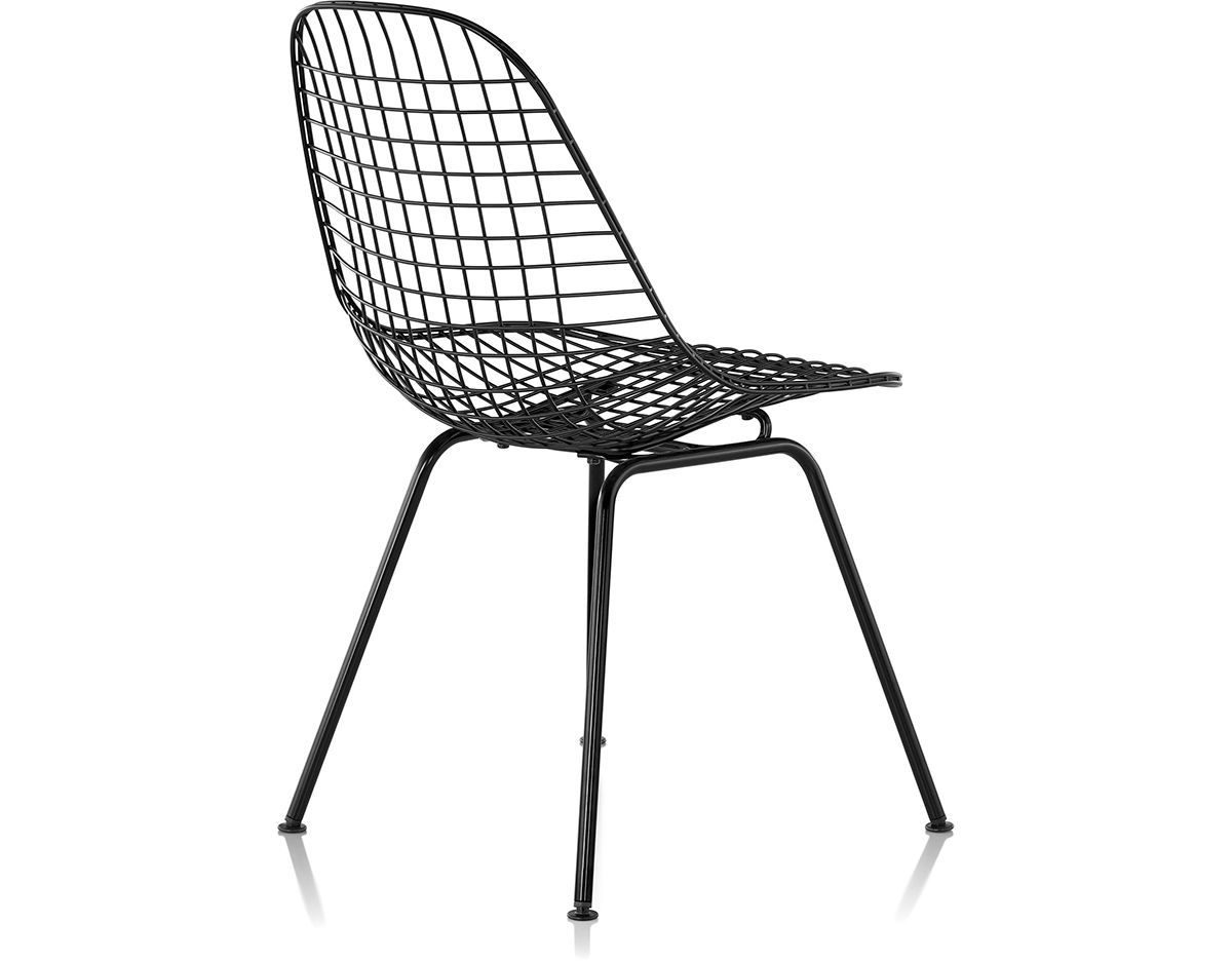 black wire chair big lots folding lawn chairs eames with 4 leg base hivemodern com