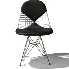 Herman Miller Eames Chair Repair Brown Leather Executive Wire With Bikini Pad Hivemodern