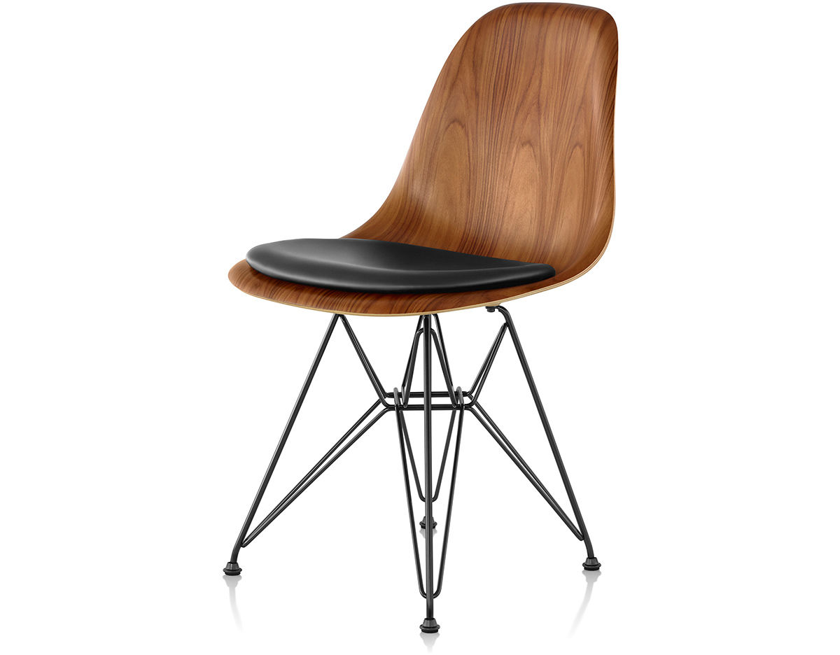 eames wood chair steel second hand wire base side with seat pad