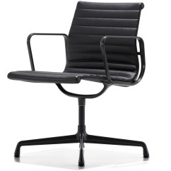 Eames Aluminum Group Management Chair Leather And Stool Side Hivemodern
