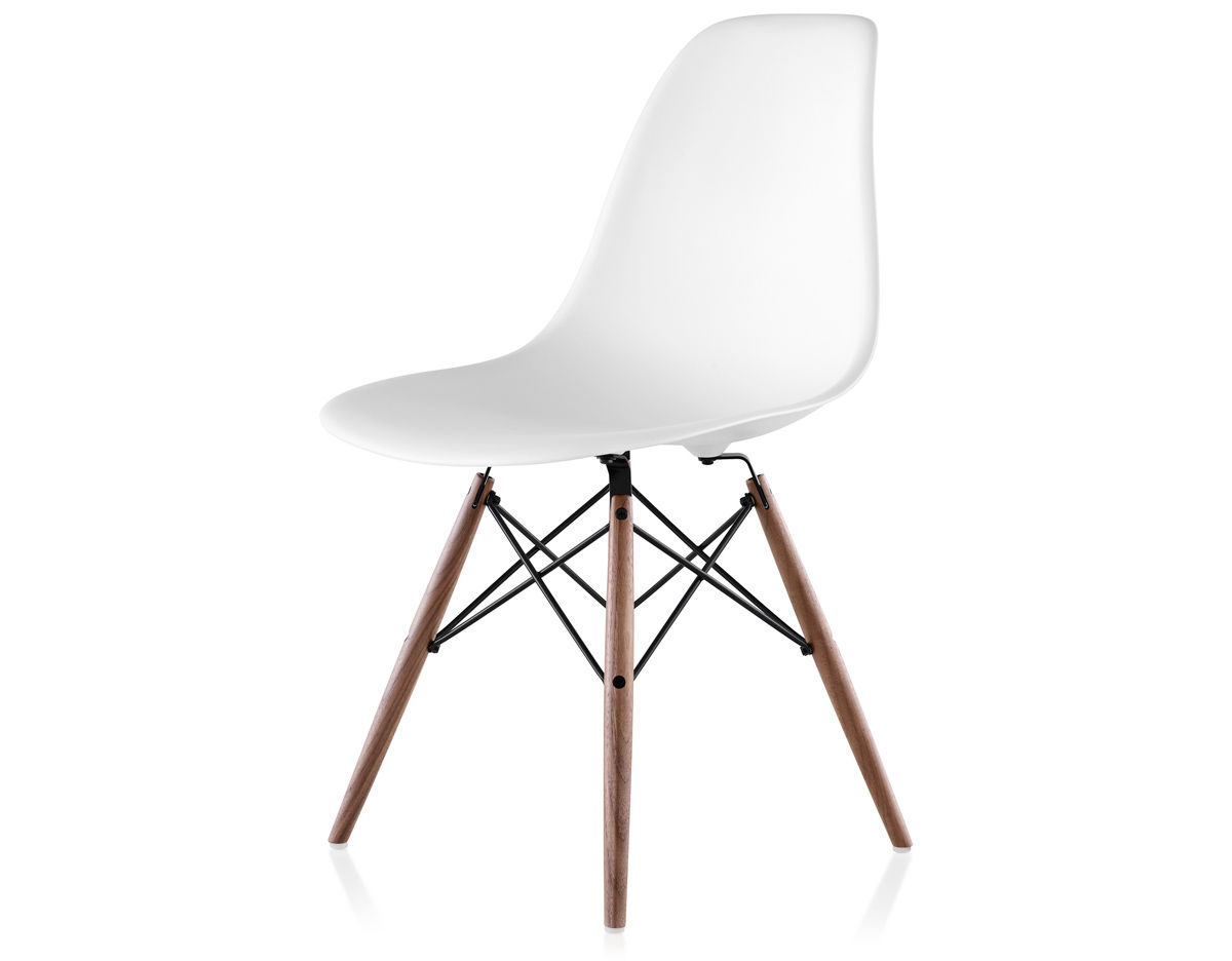 eames molded side chair fabric outside chairs plastic with dowel base