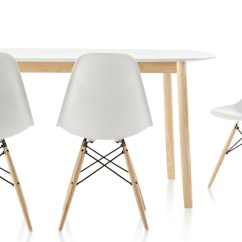 Eames Chair White Lawn Repair Webbing Molded Plastic Side With Dowel Base Hivemodern Com