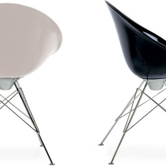Transparent Polycarbonate Chairs Bonded Leather Chair And Ottoman Ero|s| Fixed Base - Hivemodern.com
