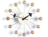 George Nelson Ball Clock In Natural Beech - hivemodern.com