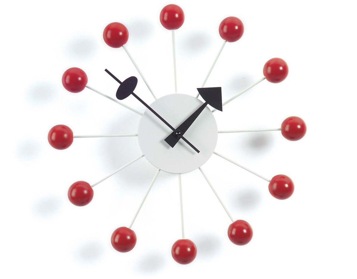 George Nelson Ball Clock In Red  hivemoderncom