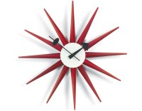 George Nelson Sunburst Clock Red - hivemodern.com