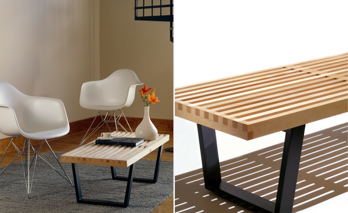 George Nelson Platform Bench With Wood Base  hivemoderncom