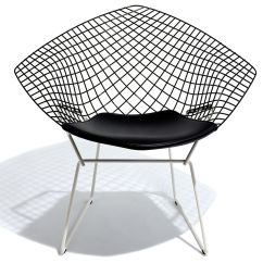 Knoll Bertoia Chair Indoor Wicker With Ottoman Diamond Two Tone Seat Cushion