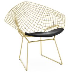 Knoll Bertoia Chair Corner For Bedroom Gold Plated Small Diamond With Seat Cushion