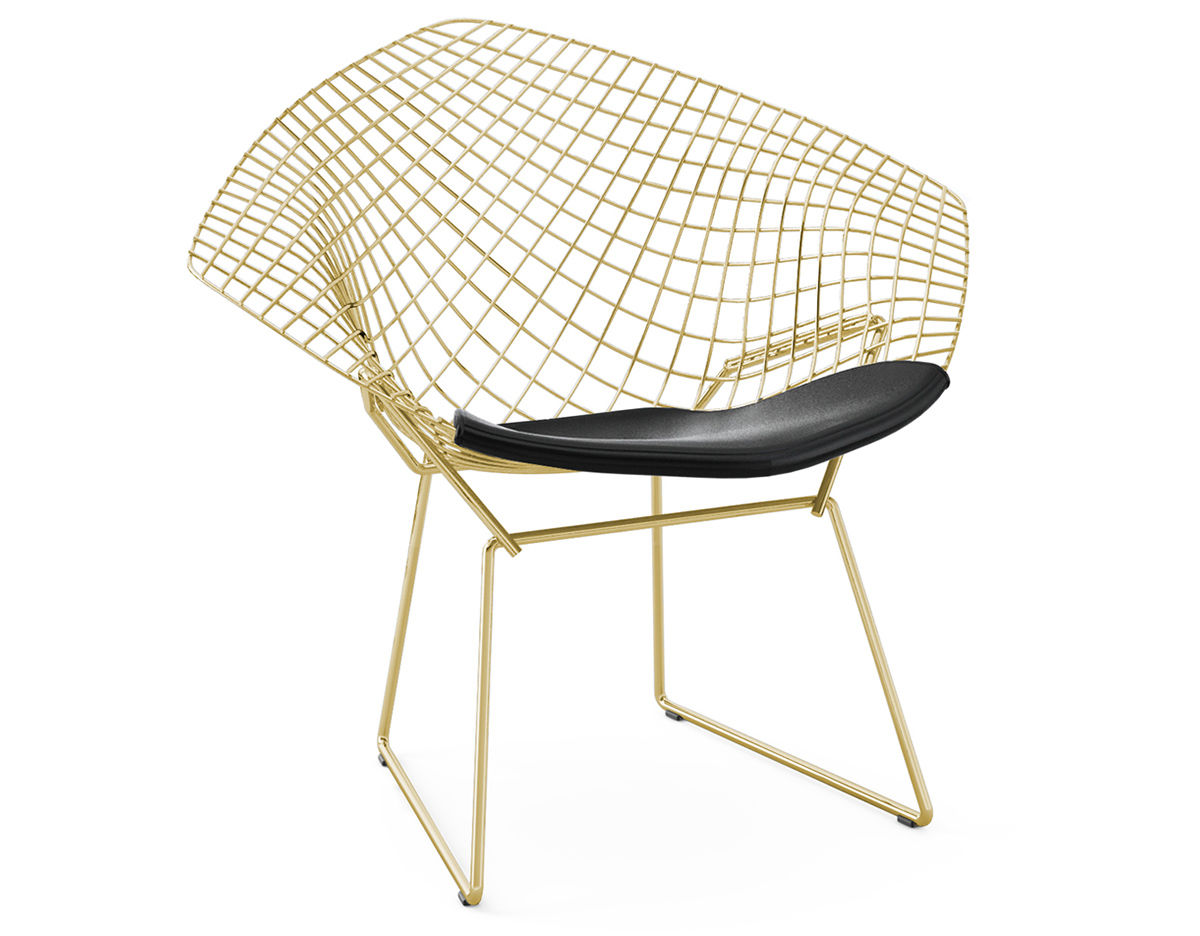 Bertoia Chairs Bertoia Gold Plated Small Diamond Chair With Seat Cushion