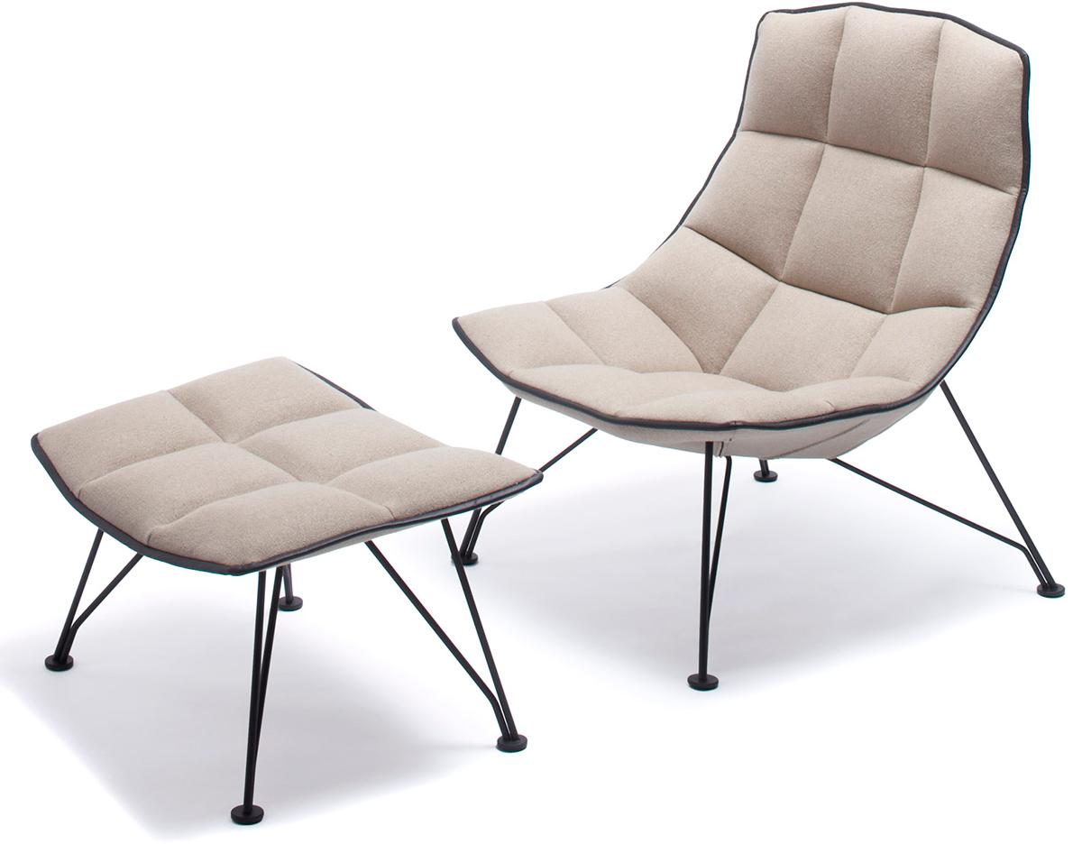 jehs laub wire lounge chair ottoman