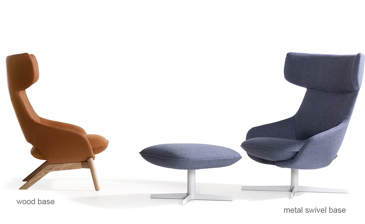 swivel rocking chairs for living room interior design simple kalm metal base lounge chair & ottoman - hivemodern.com