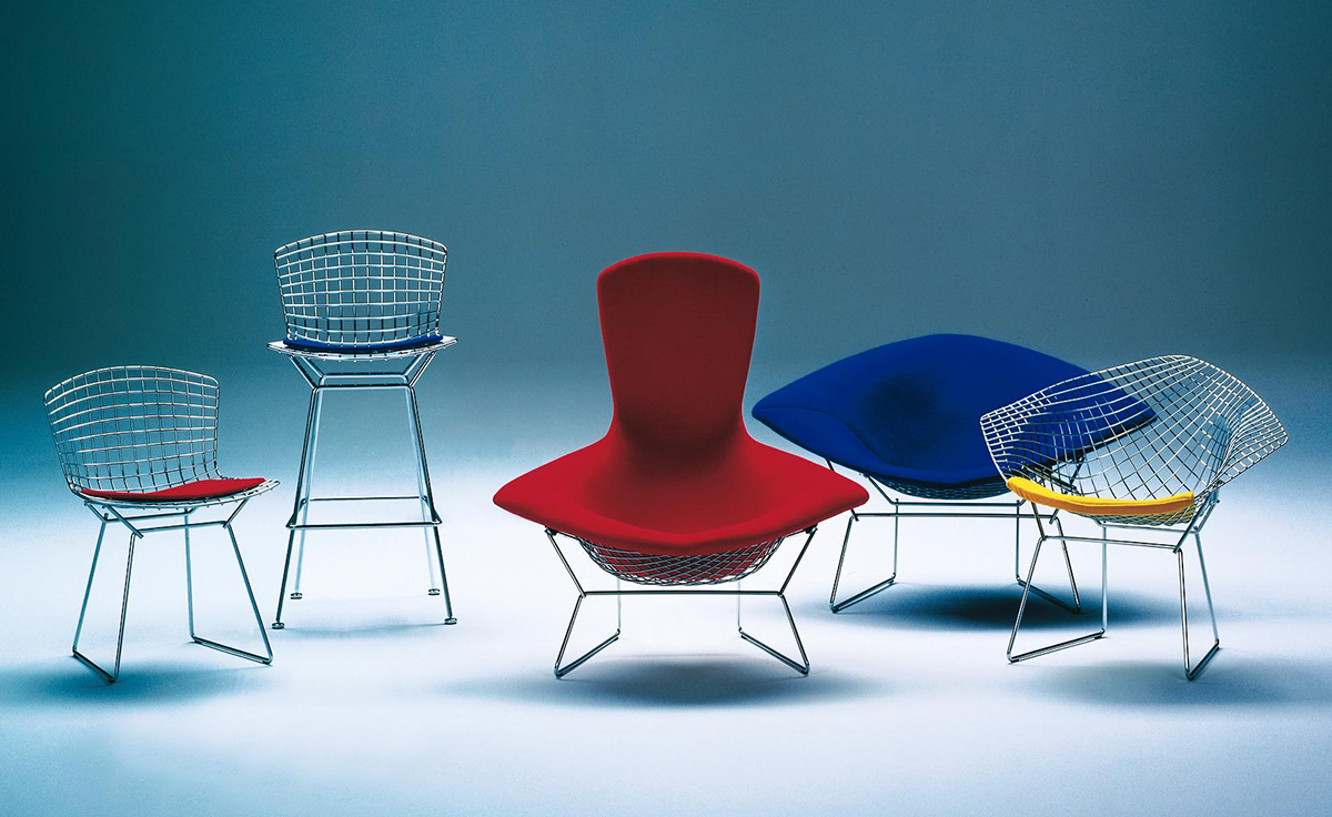 Bertoia Large Diamond Chair With Full Cover  hivemoderncom