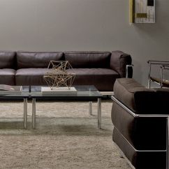 Lc3 Sofa Softline Sleeper Bed Le Corbusier Three Seat With Down Cushions Hivemodern Com
