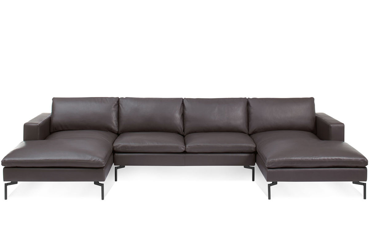 modern leather dining chairs with arms fishing chair makers new standard u shaped sectional sofa - hivemodern.com