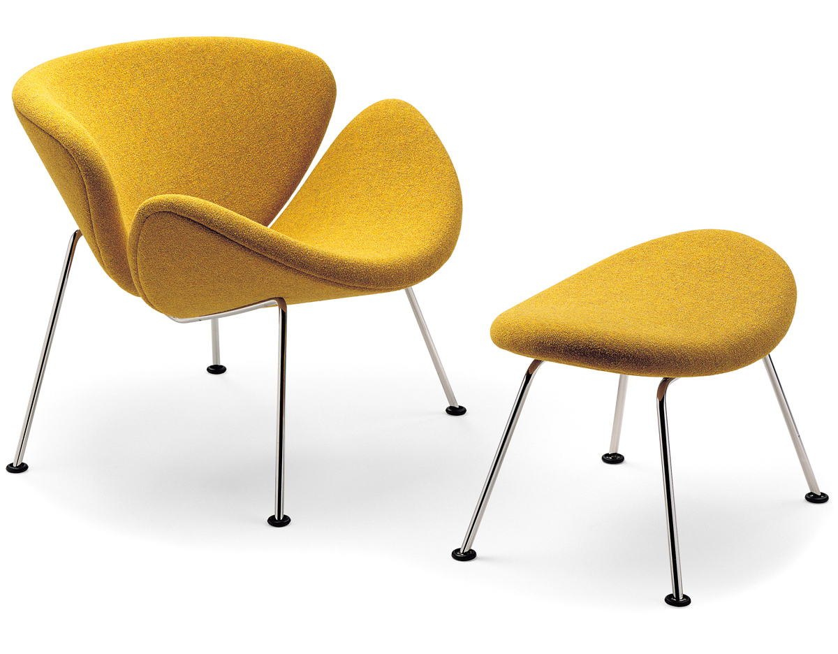 orange slice chair with pad and ottoman hivemodern