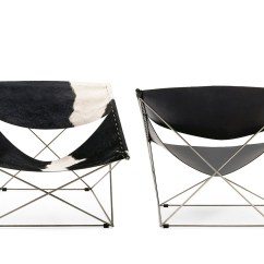 Black And White Cowhide Chair Animal Bean Bag Chairs Pierre Paulin Butterfly - Hivemodern.com