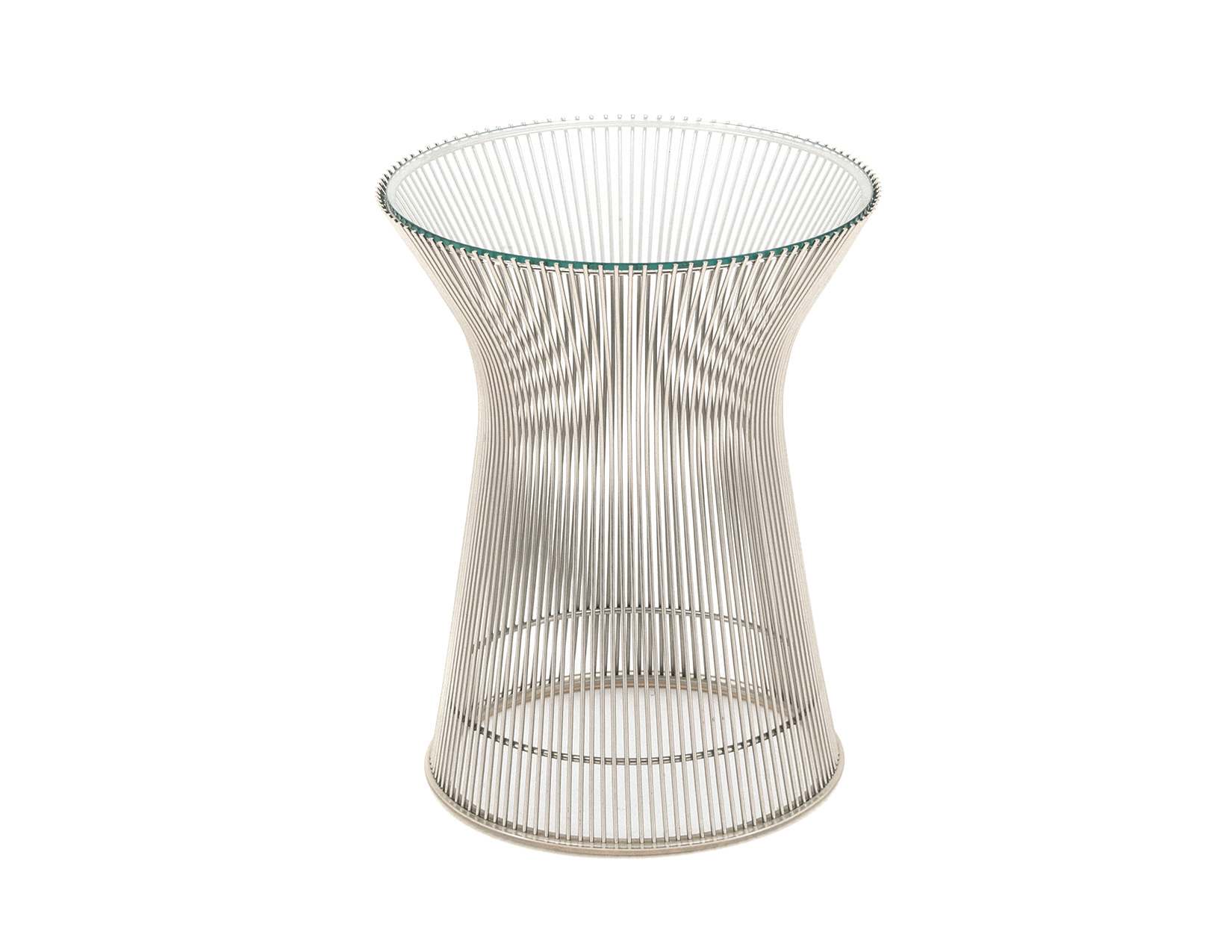 wire dining chairs outdoor rocking white platner nickel side table - hivemodern.com