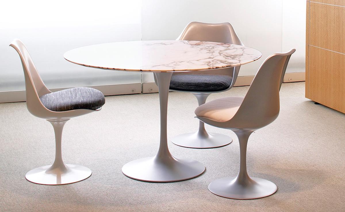 Saarinen Platinum Tulip Side Chair  hivemoderncom