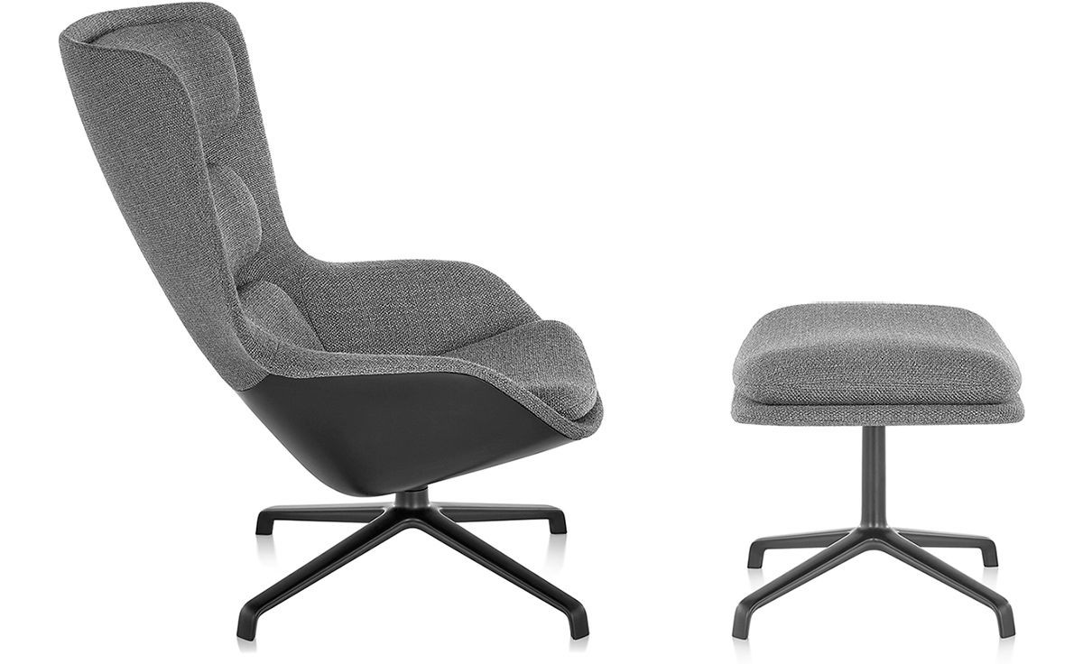 black chair and ottoman best for reading striad high back lounge with 4 star base hivemodern com