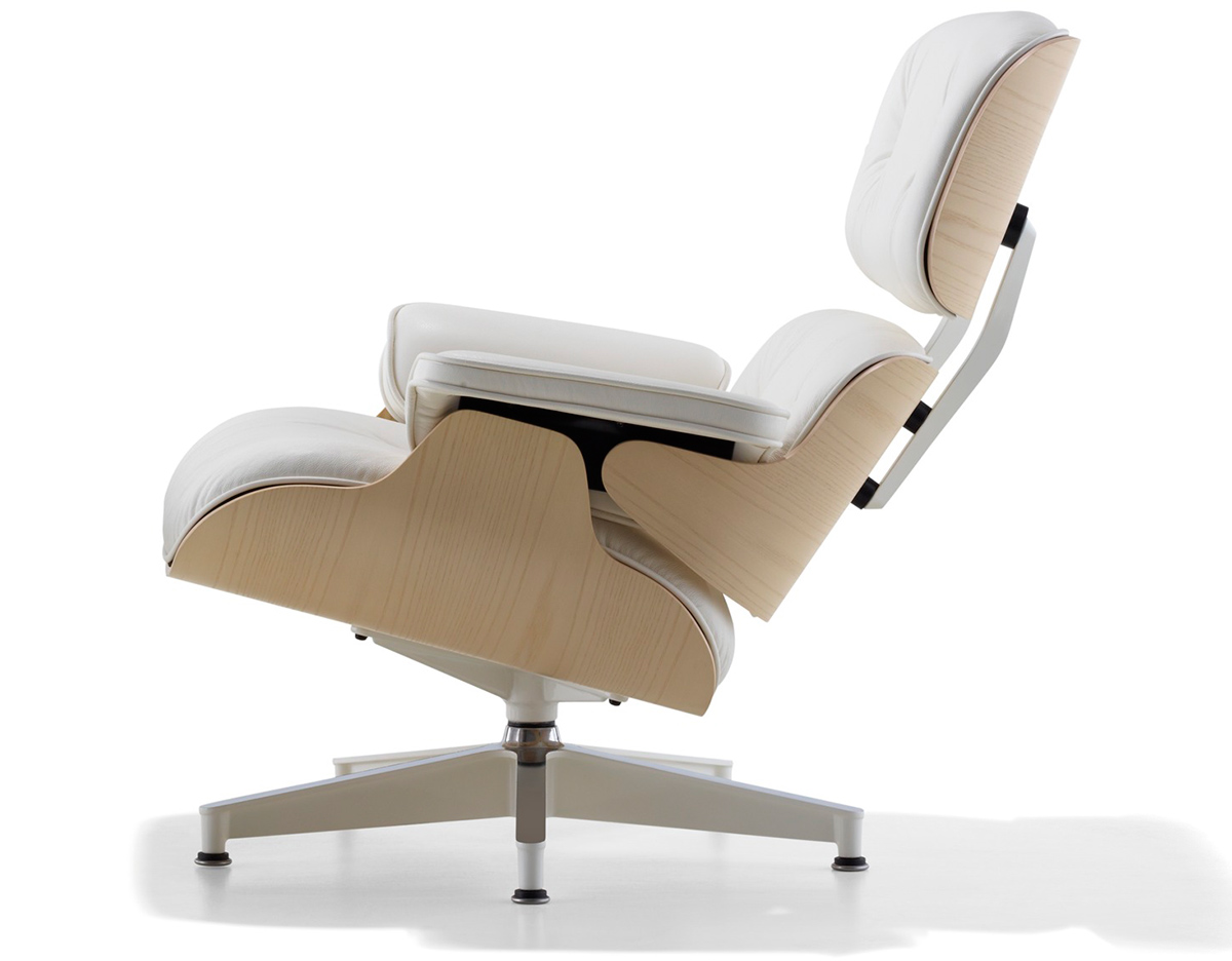 White Lounge Chairs White Ash Eames Lounge Chair Without Ottoman Hivemodern