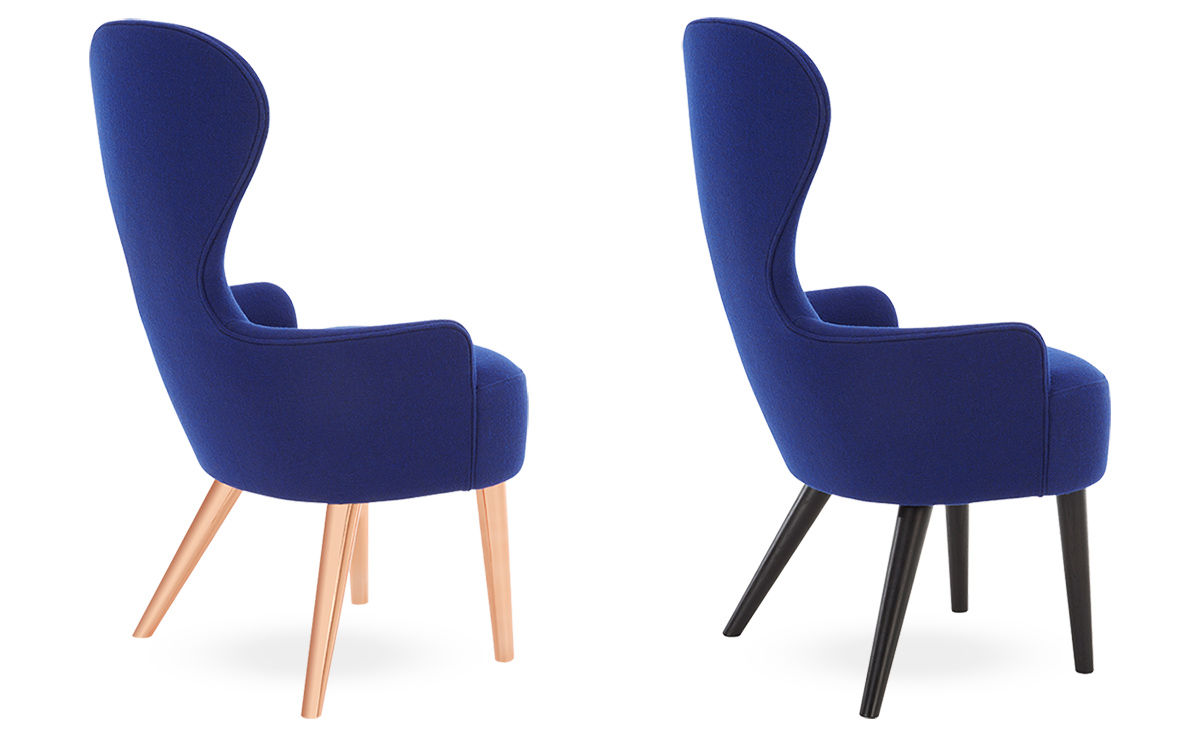 tom dixon wing back chair steel video wingback dining with wood legs - hivemodern.com