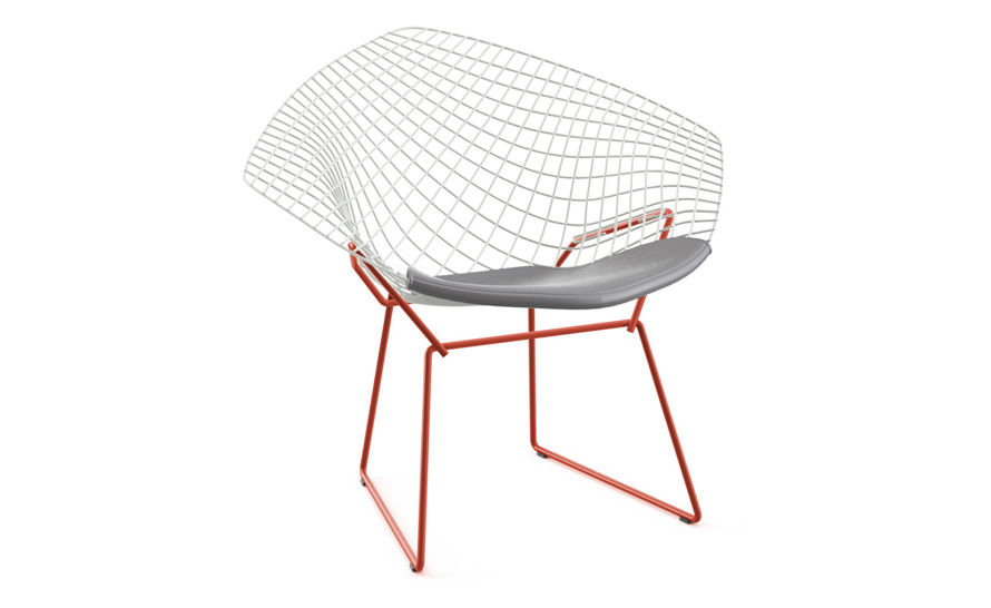 steel net chair gingham dining room covers bertoia diamond two tone with seat cushion hivemodern com