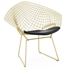 Steel Net Chair Lee Industries Chairs Bertoia Gold Plated Small Diamond With Seat Cushion Hivemodern Com