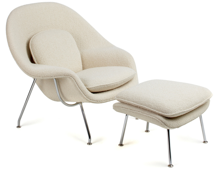 bedroom chairs and ottomans sturdy folding womb lounge chair ottoman hivemodern com by eero saarinen from knoll