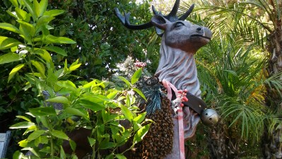 Swarm of bees on a fake rain deer in Claremont CA.