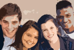 four teenagers in a closeup decorative image
