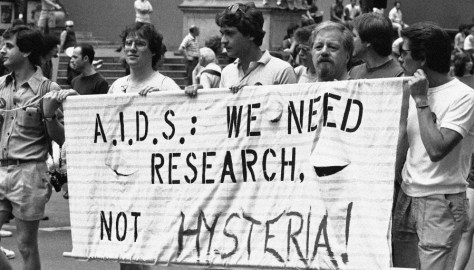 AIDS protest banner