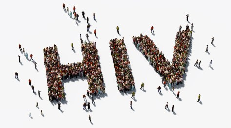 Human Crowd Forming H I V Text On White Background