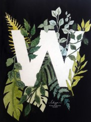 Watercolor W Monogram with leaves
