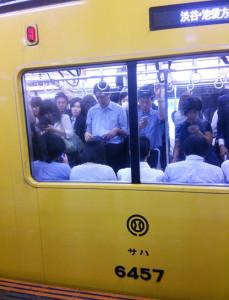 日吉駅に現れた「黄色い電車」(2015年9月10日)。主に「特急」「通勤特急」「急行」になることが多いようです