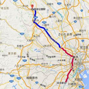日吉駅から森林公園駅までのルート(グーグルマップより)